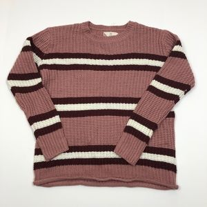 Pink Rose Striped Pink/Plum Sweater Size M